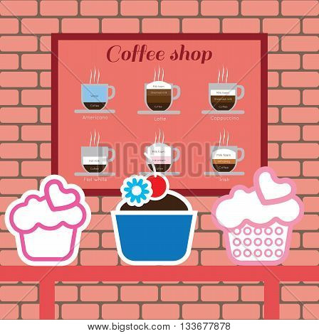 Set of cakes and coffee shop items with americano latte cappucino flat white and irish over pink background with bricks. Digital vector image