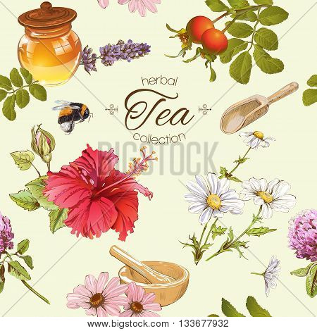 Vector herbal tea seamless pattern with honey, rose hips and hibiscus flower.