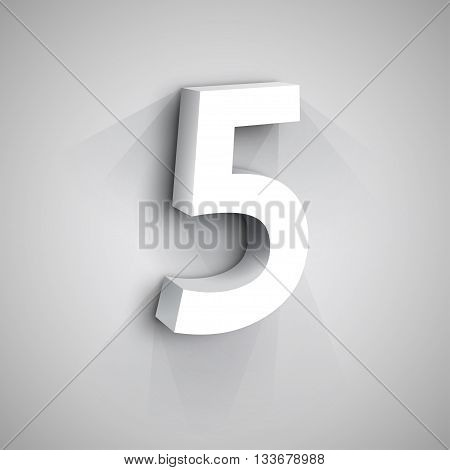 3d Number Five. White figure 5 on Gray Background