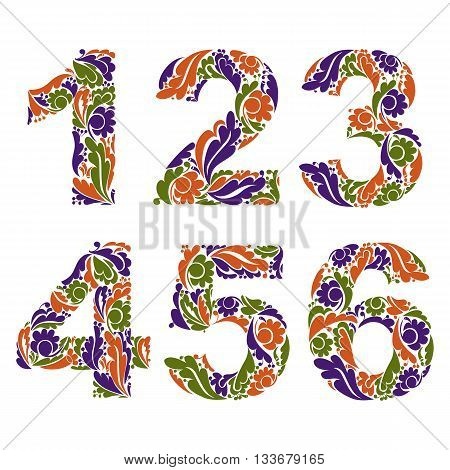 Beautiful Floral Numbers, Decorative Digits With Vintage Seasonal Autumn Pattern. 1, 2, 3, 4, 5, 6.