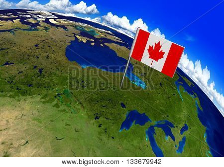 Flag marker over country of Canada on world map 3D rendering, parts of this image furnished by NASA