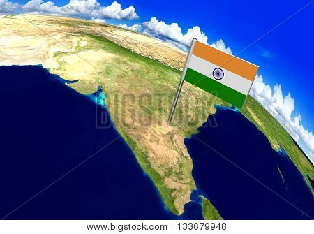 Flag marker over country of India on world map 3D rendering, parts of this image furnished by NASA