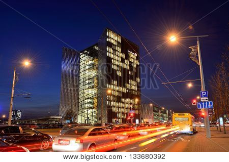 VILNIUS NOVEMBER 05: The Head Office of Swedbank on November 05 2014 in Vilnius Lithuania. Swedbank is the leading bank in Sweden Estonia Latvia and Lithuania.