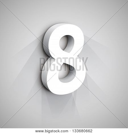 3d Number Eight. White figure 8 on Gray Background