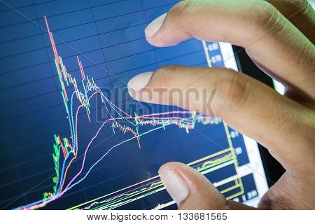 businessman and stock market graph and bar chart price displayBusinessman failure in stock market
