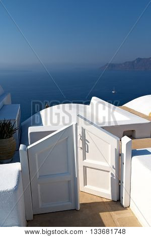White And Blue  House In Santorini Greece Europe Old Construction