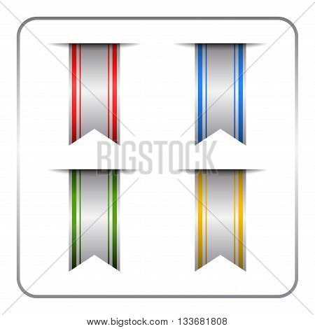 Silver and colored bookmark banners set. Vertical book marks labels isolated on white background.