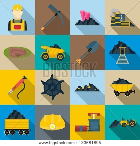 Mining Icons set in flat style for any design