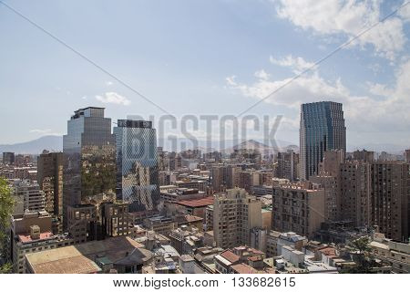 Santiago de Chile, Chile - November 26, 2015: Skyline as seen from the Cerro Santa Lucia.