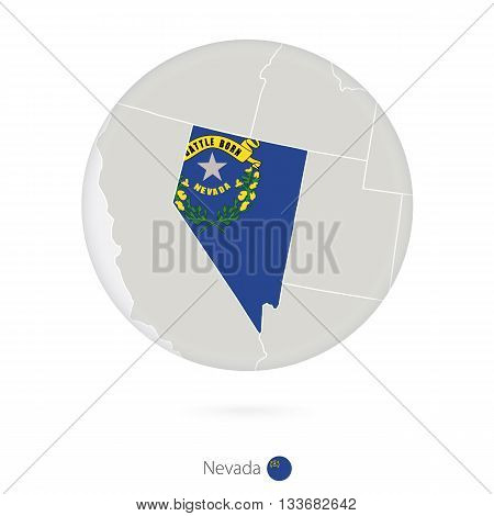 Map Of Nevada State And Flag In A Circle.
