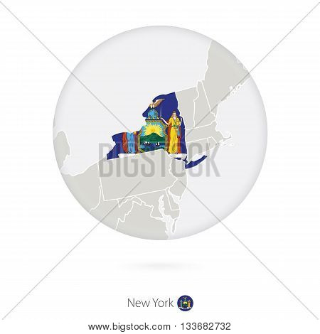 Map Of New York State And Flag In A Circle.