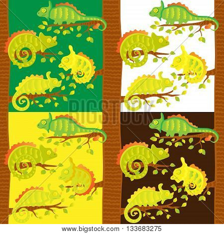 Set of seamless patterns with chameleons on the tree. Art vector illustration.