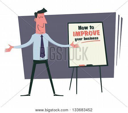 Business training presentation. Cartoon business trainer presents a training