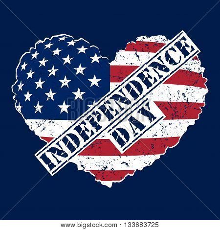 American flag as heart shaped symbol for 4th of July Independence Day celebration. Patriotic love Typography Graphics. Fashion Print for sportswear apparel t shirt card banner. Vector illustration