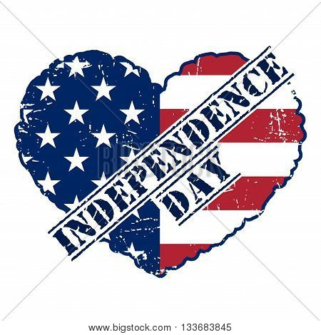 American flag as heart shaped symbol for 4th of July Independence Day celebration. Patriotic love Typography Graphics.