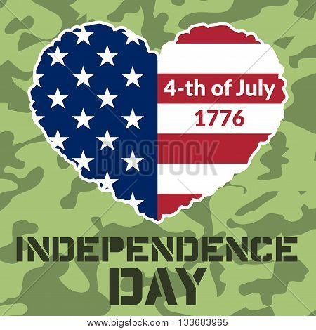 American flag as heart shaped symbol for 4th of July Independence Day celebration. Patriotic love Typography Graphics