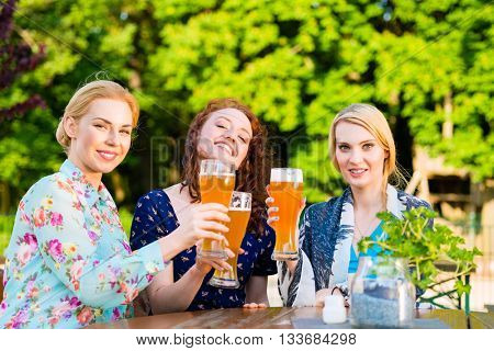 Friends toasting with beer in garden pub