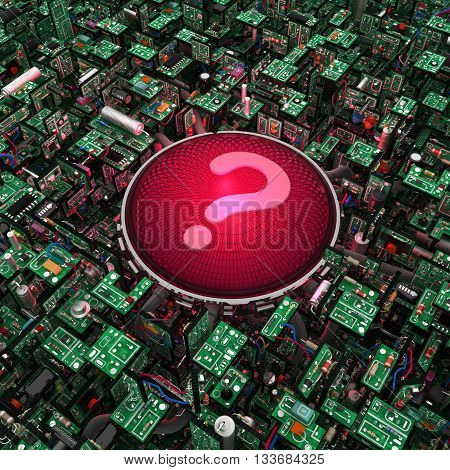 Electronic circuit red question light 3d illustration square
