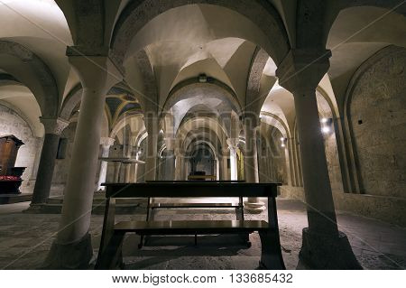 RIETI ITALY - APRIL 16 2016:ancient crypt underthe altar in the Santa Maria Assunta Cathedral