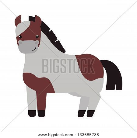 Illustration of running beautiful cartoon pony golden baby horse and cartoon pony vector farm animal. Cartoon pony mane adorable mammal and little unicorn nature cartoon brown pony.