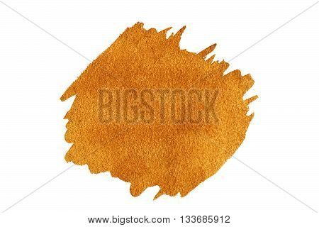 Golden Painted Stain Isolated On White Background.