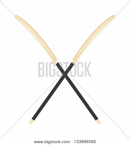 Katana japanese crossed sword traditional weapon and japanese crossed metallic swords knife. Japanese crossed swords icon cartoon vector illustration on white background.