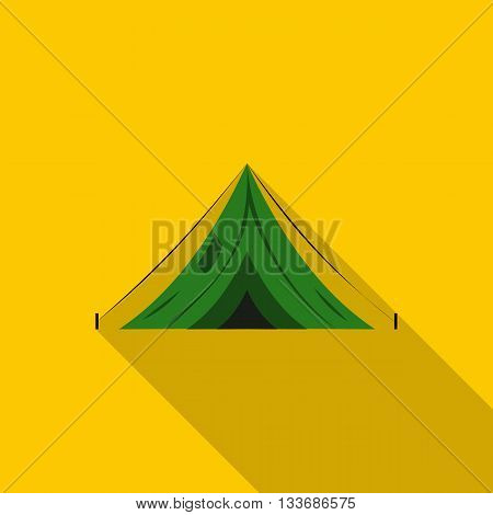 Green canvas tent icon in flat style on a yellow background