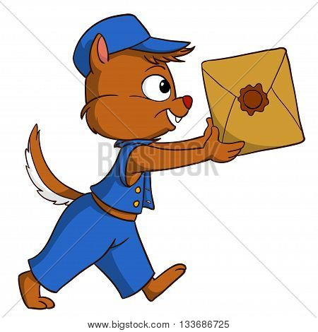 Cartoon delivery chipmunk with package isolated on white background