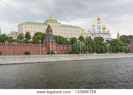 MOSCOW - JUNE 02: The towers and walls of Moscow Kremlin from the Moskva river on June 02 2016