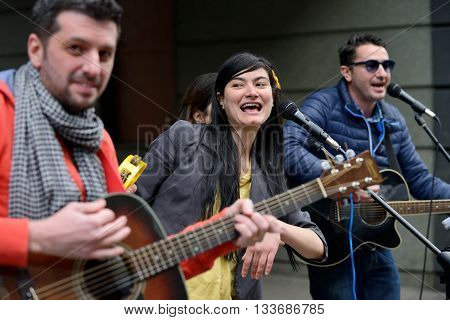 VILNIUS LITHUANIA - MAY 16: Unidentified musicians perform during the Street Music Day on May 16 2015 in Vilnius. It's the most popular event on May in Vilnius Lithuania.