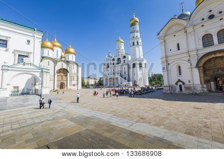 MOSCOW - JUNE 04: Ivan the Great bell tower Moscow Kremlin Russia on June 04 2016