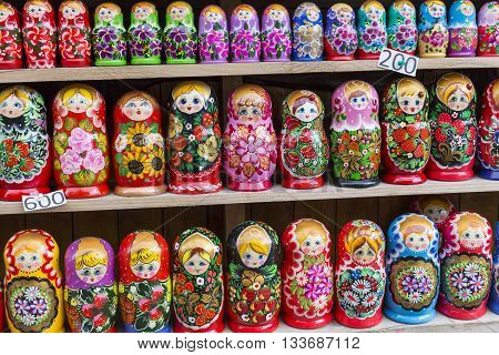 Colorful Russian nesting dolls matreshka at the market. Matrioshka Nesting dolls are the most popular souvenirs from Russia.