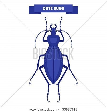Cute bug isolated on white. Blue ceroglossus. Cute insect design. Stylish flat cartoon bug. For card print flyer poster label shop. Kid's beetle vector illustration