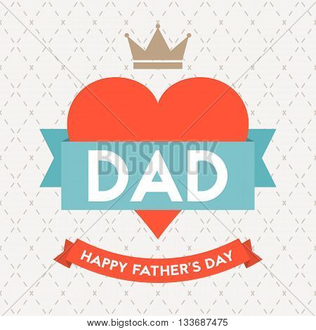 Happy father's day illustration vector template on argyle background, design for card or background with calligraphic font, typographical Father's day in vintage style