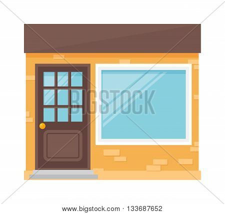 Empty office building isolated business park shop isolated. Building isolated exterior architecture urban and office business building isolated. Downtown house corporate shop front.