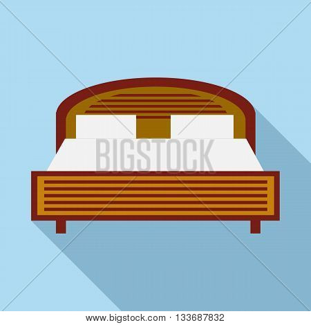 Wood double bed icon in flat style on a light blue background
