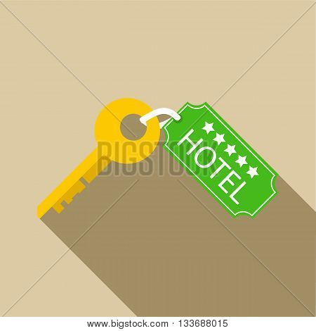 Hotel key icon in flat style on a beige background