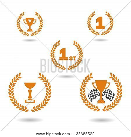 Vector. Graphic award icons. Cups for the first place racing cup and racing flags. Isolated illustration