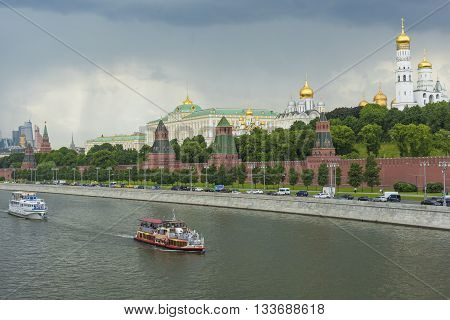 Moscow - June 02: Kremlin Embankment Of The Moscow River. The Towers And Walls Of Moscow Kremlin Fro
