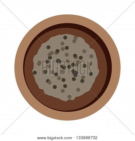 Buckwheat plate top view in bowl isolated on white background. Buckwheat plate top view brown healthy food and buckwheat plate dinner. Buckwheat plate vegetarian groats breakfast