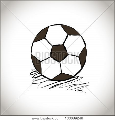 Graphic soccer ball. Hand drawn style football ball. A soccer ball icon. Sports icon. Black and white simple football ball. Sports accessories. Vector isolated illustration. Round shape