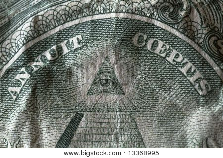 Eye on the one dollar note