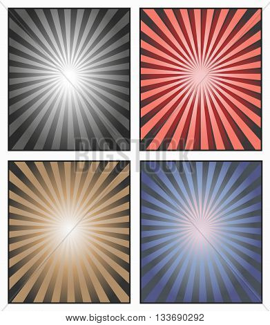 Vector. Sunburst Illustration. A background of sun rays or star rays for an advertisement or a poster. Sunshine rays in red blue beige and black white. Set of sun ray vectors. Striped background.