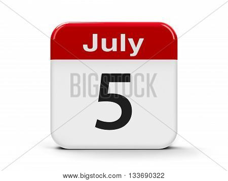 Calendar web button - The Fifth of July three-dimensional rendering 3D illustration