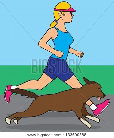 Female jogger out for a run with her dog