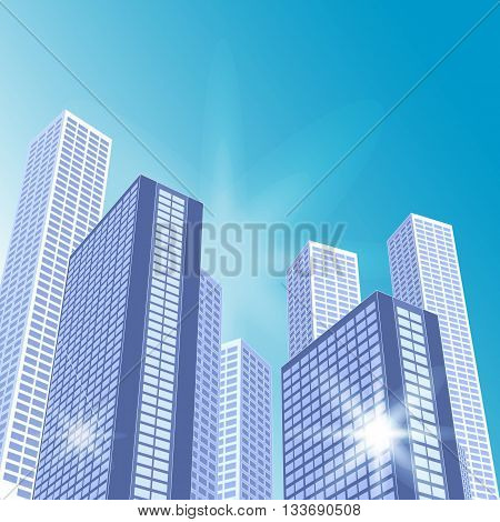 Architectural Landscape With City Buildings