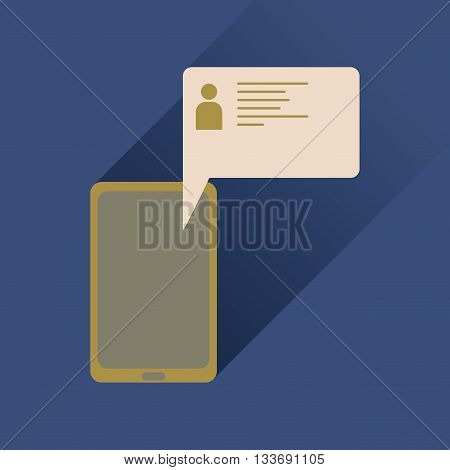 Flat icon with long shadow mobile phone message