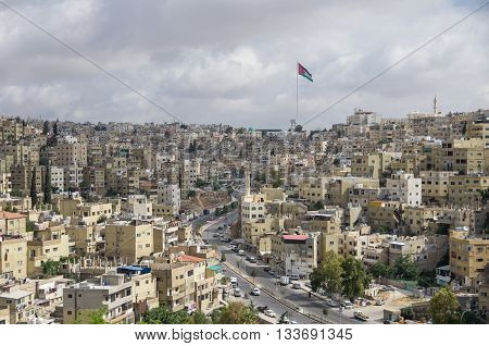 Amman City View With Big Jordan Flag And Flagpole, Amman, Jordan