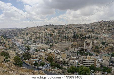 Cityscape Of Amman Downtown With Roman Amphitheatre From Citadel, Amman, Jordan