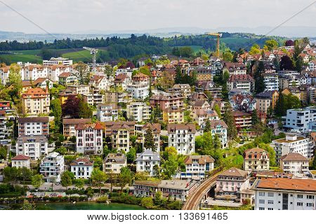 LUCERNE SWITZERLAND - MAY 04 2016: General view of the housing district. Colorful buildings shows unique character of the City which offers multitude of tourist attractions